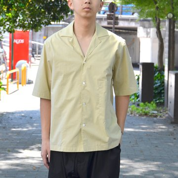 STUDIO NICHOLSON(スタジオニコルソン)/ OPEN COLLAR SHORT SLV SHIRT -KHAKI- #SN-280