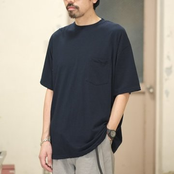 Graphpaper(グラフペーパー)  80/- Hi-Twisted S/S Pocket Tee -NAVY- #GU181-70067B