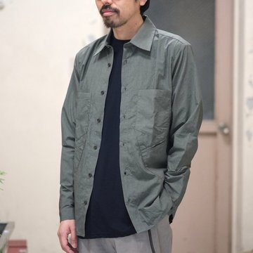 【2018 SS】FRANK LEDER(フランク リーダー) TRIPLE WASHED THIN COTTON SHIRT -KHAKI-  #0216015