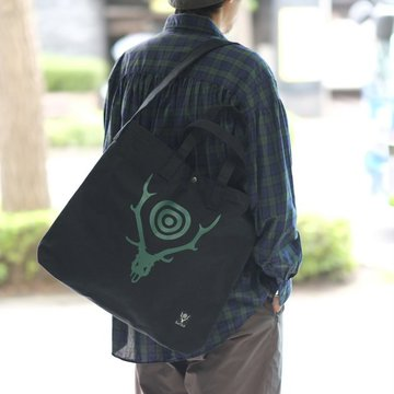 South2 West8(サウスツーウエストエイト) Grocery Bag[Skull&Target] -BLACK-