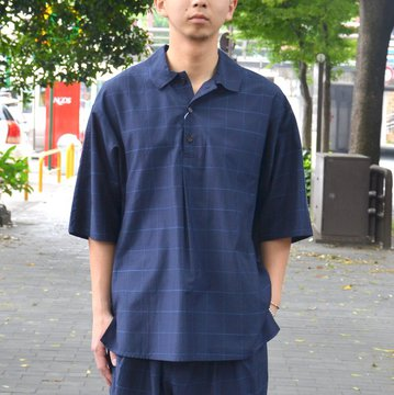 【30% OFF SALE】tim.(ティム)/ WINDOW PANE DOLMA POLO -(35)NAVY- #8103-0603