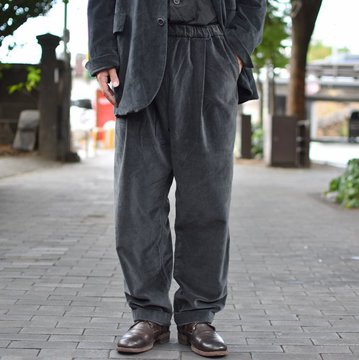 【2018 AW】 CASEY CASEY(ケーシーケーシー)/ VELVET PANTALON JOG BASICS LONG PANT -DARK GREY- #11HP124