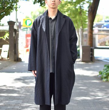 【2018 AW】 CASEY CASEY(ケーシーケーシー)/FLANEL MANTEAU BLOBBY COAT-NAVY- #11HM75