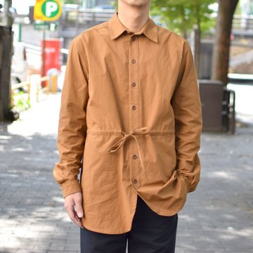 FRANK LEDER(フランクリーダー)BRUSHED COTTON SHIRT + DRAWSTRING BROWN 0426029-89-S