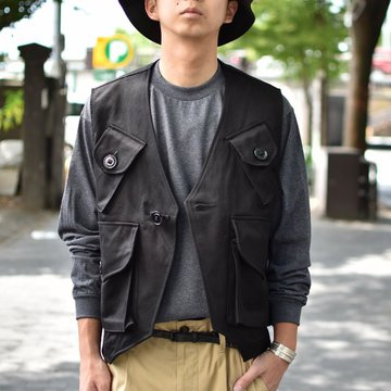 【2018 AW】MONITALY(モニタリー)/ MILITARY VEST TYPE-C -VANCLOTH SATEEN BLACK- #M24101
