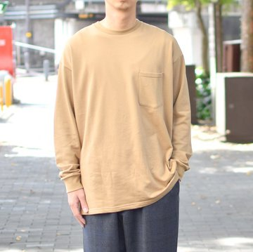 【2018 AW】 Graphpaper (グラフペーパー) L/S Pocket Sweat Tee -BEIGE- #GM183-70078