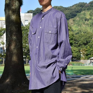 【2018 AW】COMOLI (コモリ)  プルオーバーカーゴシャツ -PURPLE- #N03-02005