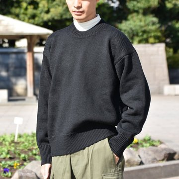 【18 AW】AURALEE(オーラリー) / FELT WOOL YARN KNIT PO -BLACK- #A8AP01FU