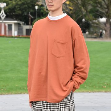 【2018 AW】 Graphpaper (グラフペーパー) L/S Pocket Sweat Tee -BRICK- #GM183-70078