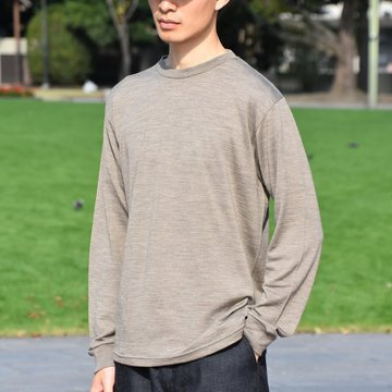 【2018 AW】 Graphpaper (グラフペーパー) Washable Wool Crew Neck Tee L/S -GRAGE- #GM183-70052B