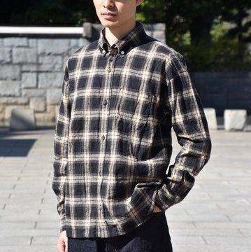 nisica(ニシカ)/ ルーズフィットボタンダウンシャツ L/SーBROWN CHECK- #NIS-837