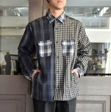 【19SS】 FRANK LEDER(フランクリーダー)FRANK LEDER(フランクリーダー) 19SS MIXED MATERIAL CHECKERED SHIRT JACKET