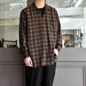 【2019 SS】COMOLI (コモリ) -レーヨンオープンカラーシャツ-#P01-01013 チェック