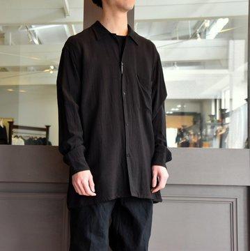【2019 SS】COMOLI (コモリ) -レーヨンオープンカラーシャツ-#P01-01013 ブラック