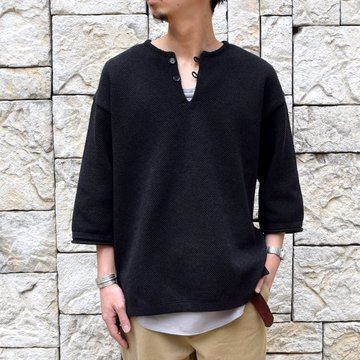 【2019 SS】crepuscule(クレプスキュール) moss stitch s/s skipper -BLACK- #1901-004