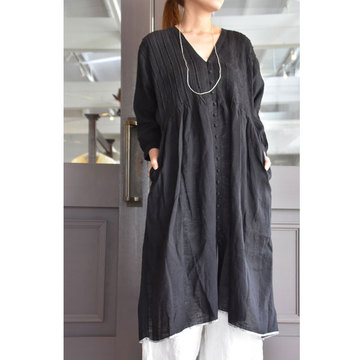 maison de soil(メゾンドソイル) HANDWOVEN LINEN RANDOM PLEATS V DRESS(Vネックプリーツワンピース)