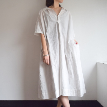 TOUJOURS(トゥジュー) Open Back Yolk Skipper Shirt Dress【K】