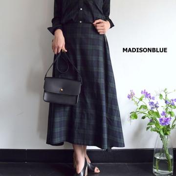 MADISONBLUE(マディソンブルー) CHECK MI-MOLLET FLARE SKIRT チェックフレアスカート【K】