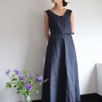 MADISONBLUE(マディソンブルー)V NECK CAP SLEEVE BELTED DRESS DENIM デニムワンピース【K】