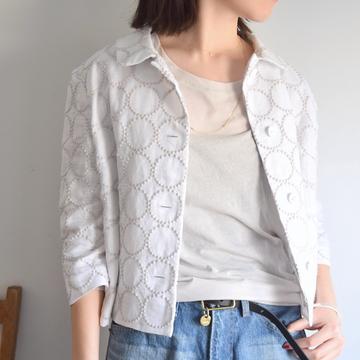 mina perhonen(ミナ ペルホネン)  tambourine 8分袖ジャケット(white)