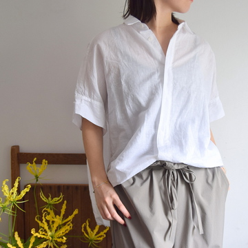 TOUJOURS(トゥジュー) LINEN COTTON CHAMBRAY CLOTH S/S Wide Shirt(WHITE)【K】