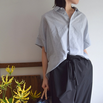 TOUJOURS(トゥジュー) LINEN COTTON CHAMBRAY CLOTH S/S Wide Shirt(SMORKE GRY)【K】