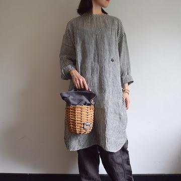 maison de soil(メゾンドソイル)  LINEN BACK OPENING SHIRT DRESS【K】
