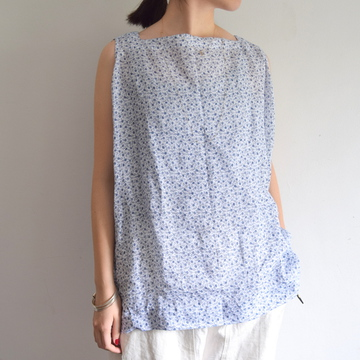 TOUJOURS(トゥジュー) INDIGO FLORAL PRINT LINEN CLOTH Oversized Sleeveless Basque Shirt【K】