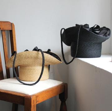 【30% off sale】Bilitis dix-sept ans(ビリティス・ディセッタン)  Hat Shaped Basket Purse ハット型バスケット(2色展開)