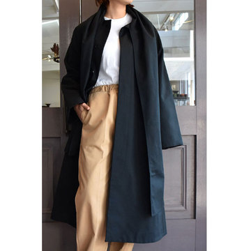 CristaSeya(クリスタセヤ)  Maxi over coat with scarf (Black)