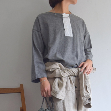 TOUJOURS(トゥジュー) Big Henley Neck Shirt【K】