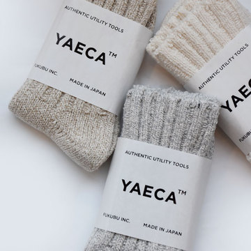 YAECA(ヤエカ) COTTON SILK ソックス (NATURAL / L.GRAY / BROWN)