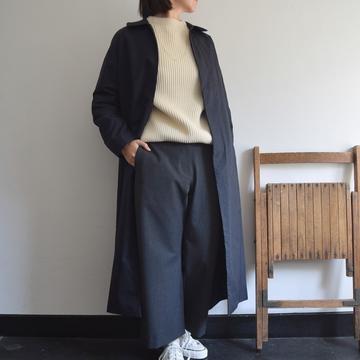 YAECA(ヤエカ) ステンカラーコートロング(NAVY)【K】