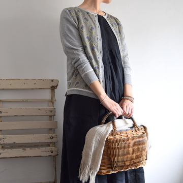 maison de soil(メゾンドソイル)  HANDWOVEN LINEN INVERTED PLEATS DRESS(2色展開)【K】