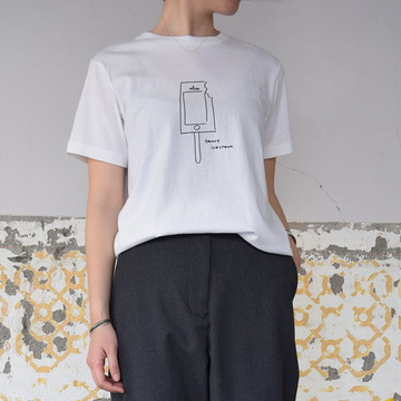 YAECA(ヤエカ) プリントTシャツ(ICE CREAM)【K】