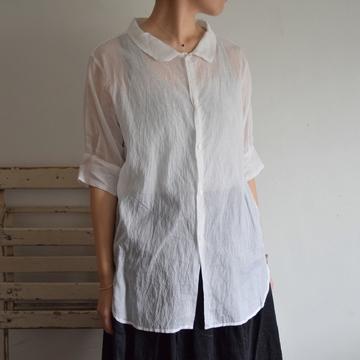 TOUJOURS(トゥジュー) Silk Cotton Round Collar Wide Neck Half Sleeve Shirt(シルクコットン ラウンドカラー ワイドネック ハーフスリーブシャツ)【K】