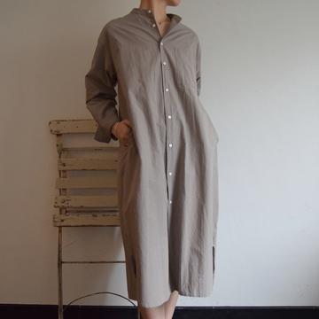 TOUJOURS(トゥジュー) Organic Cotton Sheeting Cloth Oversized Band Collar Shirt Dress(オーガニックコットンシーティングクロス オーバーサイズバンドカラーシャツドレス)【K】