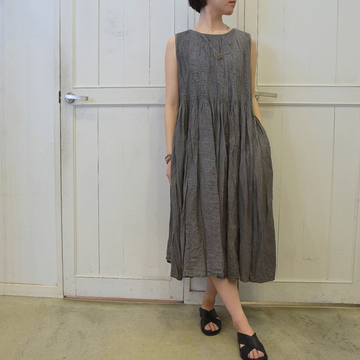 maison de soil(メゾンドソイル)ORGANICK CHECK PATCHWORK MINI PINTUCK NOSLEEVE DRESS(ミニピンタックノースリーブドレス)【K】