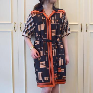 DRIES VAN NOTEN(ドリスヴァンノッテン)DOPOS 1006 プリントシルクシャツドレス【K】
