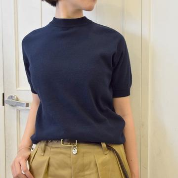 YAECA(ヤエカ) リンキングCOTTON RIBモックネックショートスリーブ(2色展開)【K】