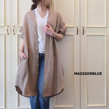 MADISONBLUE(マディソンブルー) NOCOLLAR SHIRT ONEPIECE LINEN【K】
