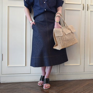 MADISONBLUE(マディソンブルー) TRAPEZE DENIM LONG SKIRT【K】