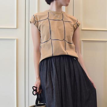 mina perhonen(ミナ ペルホネン) ribbon frame ノースリーブカットソー