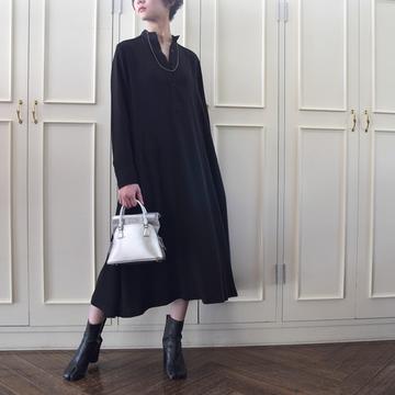 Graphpaper(グラフペーパー) Satin Band Collar Flare Dress(バンドカラーフレアドレス)【K】