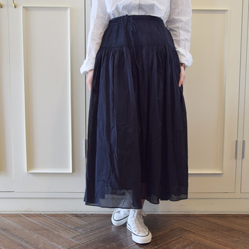 maison de soil(メゾンドソイル)ORGANIC STRIPE MINI PINTUCK FLARED【K】