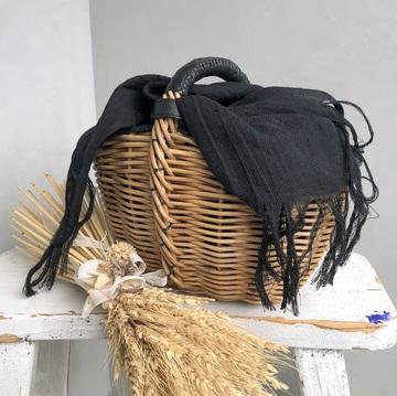ebagos(エバゴス) カーフレザー籐付きゆりかごバッグ 19336【K】