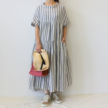 ECOLE DE CURIOSITE'(エコールドキュリオジテ)STRIPED SHEER LINEN DRESS_DOLLY【K】